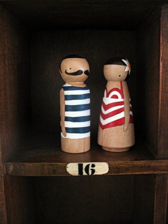 wooden folk art peg dolls ... Alfred and Gaby beach bums