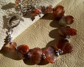 RESERVED FOR CHERYL... 35% Off Sale... Dark Orange Sunstone Handcrafted Artisan Sterling Silver Bracelet