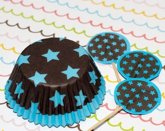 Dark Brown/Blue Stars Cupcake Set
