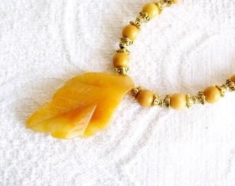 Golden Quartzite Leaf Pendant Necklace with Caramel Marble