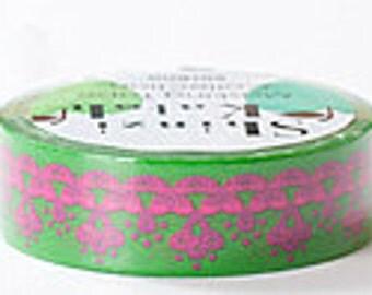 Shinzi Katoh Masking Tape - Lace in Green & Pink