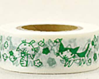 Delfonics Washi Masking Tape - Green Cats & Birds  - Wide - Snih