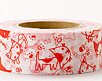 Delfonics Washi Masking Tape - Orange Cats - Wide - Snih