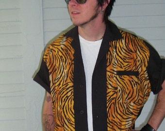 Men's Tiger Stripe Rockabilly Shirt Jac