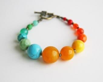 Multi Coloured Beaded Bracelet Green Yellow Blue Orange Bracelet