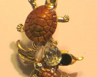 Wendy Gell  Two Turtles  Alligator clip with Swarovski  jewels and gold and leaves Many Uses