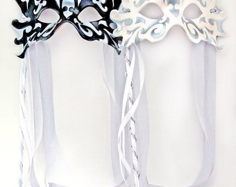 Masquerade Tiger Themed Leather Wedding Masks - Set of Two Masks
