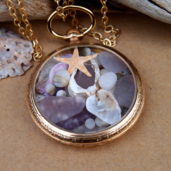 Sea Glass Pocket Watch Pendant Antique10K Gold Filled early 1900s Beach Memories