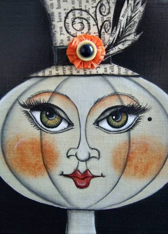 Luminista Ring Mistress of the Cirque du Halloween 5x7 Print of an Original Mixed Media Canvas Acrylic Painting by Artist Lori Davis