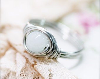 Baiyu Chinese white jade wire wrapped ring (SR)