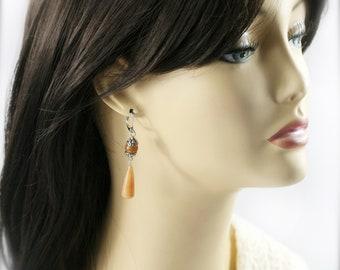 Tangerine peach earrings - red aventurine
