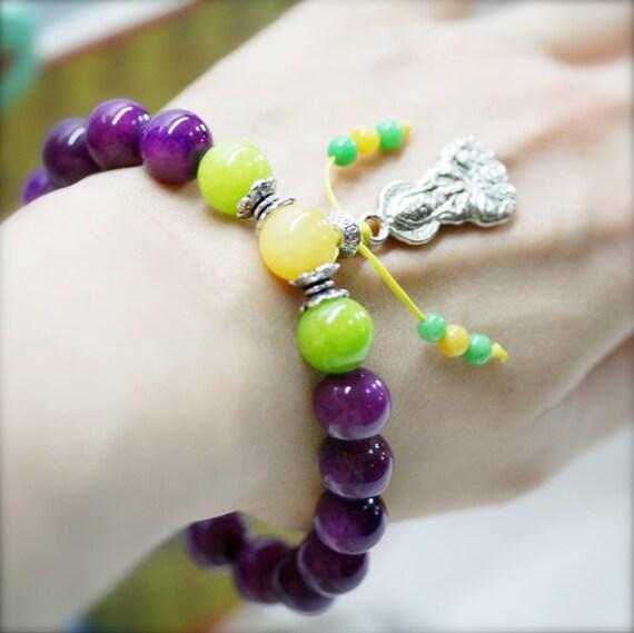 Pacifying wrist mala (stretchable), Chinese jade