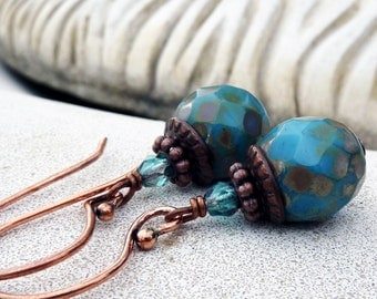 Bohemian Czech Glass Drop Earrings - Antique Copper, Dangle, Turquoise Blue, Sky Blue, Rustic, Gift for Her, Boho Chic, Women's Gift