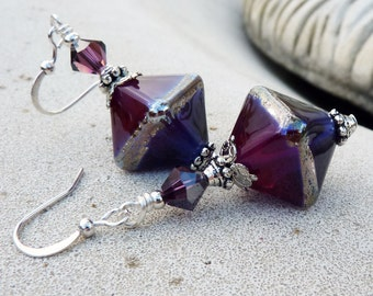 Lampwork Drop Earrings - Ruby, Fuchsia, Purple,  Violet, Silver, Swarovski Crystal