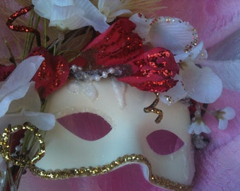 Asian Inspired, Woodland, Snow Queen, Winter Bride, Handheld Masquerade Mask, 50% sale