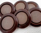 SALE French Vintage Buttons - Mid Century Chocolate Coat Buttons - LAST in Stock
