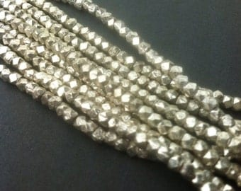 Faceted silver-plated copper nugget beads, rustic,  3-4mm BAG 105