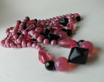 vintage pink and black flapper style necklace