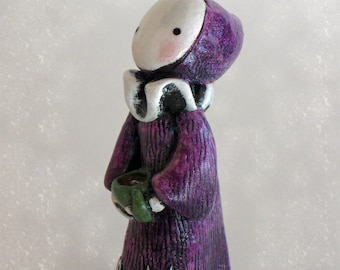 Cozy Poppet with Bunny Slippers and Hot Chocolate - Lisa Snellings