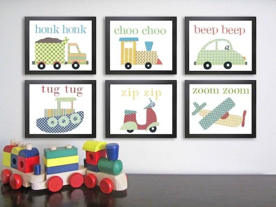 Transportation Nursery Art Vehicle Art Kids Art by justbunch