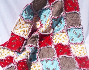 Sock Monkey Baby Rag Quilt, Blue Red Brown Yellow Blanket Bedding Unisex Boy Bananas Funky