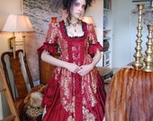 Maroon and gold renaissance, medieval Victorian inspired costume