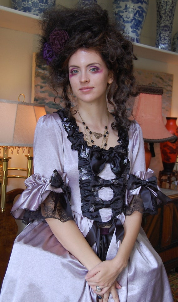 Lavender Marie Antoinette rococo Victorian inspired costume dress fits waist 26 to 28 inches comes with hips