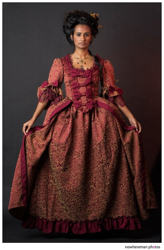 SALE Maroon with golden floral patterm Marie Antoinette rococo Victorian inspired costume dress fits waist 25 to 27 inches comes with hips