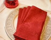 Red Dinner Napkins- set of 4- Napkins- Red Cotton Festive Holiday Dinners