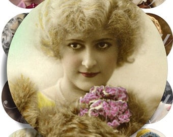 Beautiful vintage Ladies images large circles for pocket mirrors and more digital collage sheet No.990