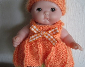 Berenguer Baby Doll Knit Pattern Pumpkin Romper Set for 5 inch lots to love itty bitty baby doll instant download
