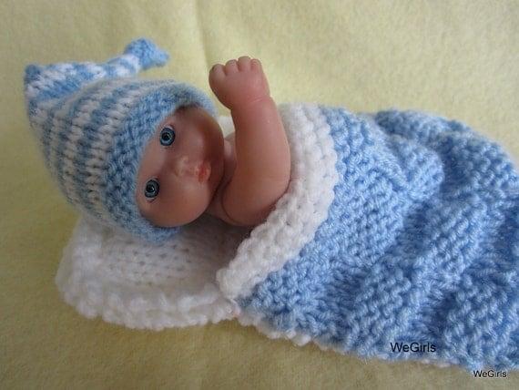 Knitting Pattern For Dolls Sleeping Bag : Berenguer Baby Doll Sleeping Bag and Nightcap Hand knit doll