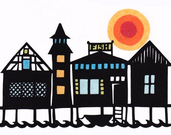 Fishing Village - 5 x 7 inch Cut Paper Art Print