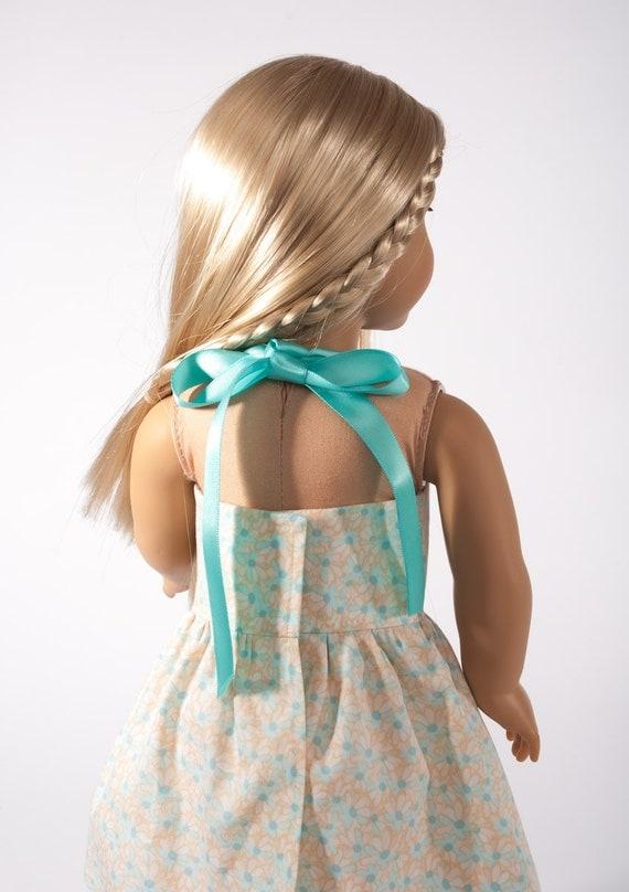"American Girl doll dress, 18"" doll clothes, clothing, sundress, teal, aqua, pastel, toy, Beach Liberty, PattiKuz"