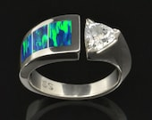 White Sapphire and Lab Created Opal Ring