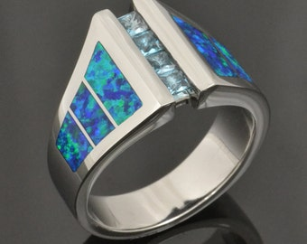 Lab Created Opal and Blue Topaz Ring by Hileman Silver Jewelry