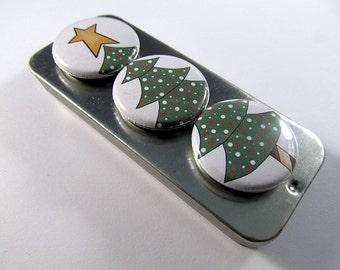 Christmas Tree Magnets Set / Christmas / Magnet Trio / Winter Trio