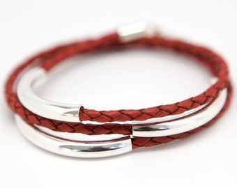 Men's Leather Bracelet Braided Leather Triple Wrap and Sterling Silver Red Brown Black Rugged Preppy for Men Valentine's day gift for him