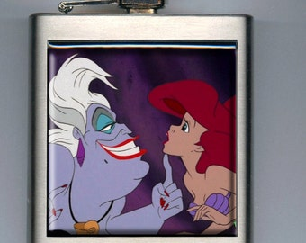 Little Mermaid Inspired Ariel and Ursula Liquor Hip Flask