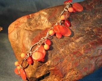 Multi-Orange Dangle Bracelet