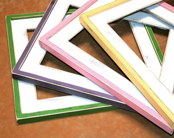 """Picture frame set collection shabby Picture frame package set 4) 10x10, 12x12 or 11x14 """"Shake it up Baby"""" 2 color 3"""" wide picture frames"""