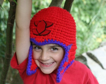 Large Red and purple helmet style hat  - fun and unique - a one of a kind hat