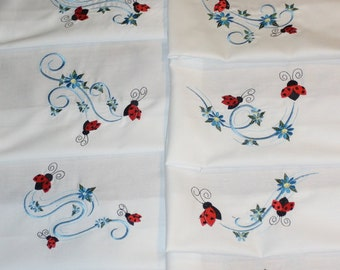 Blue Ribbons and Ladybugs Machine Embroidered Quilt Blocks Set