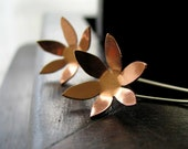 SALE 50 PERC.OFF Minimalistic copper and sterling silver handsawn star flower earrings