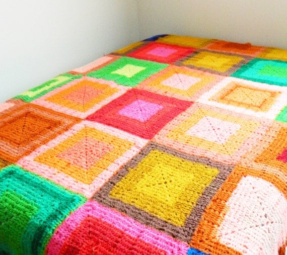 Bright Vintage Crocheted Blanket