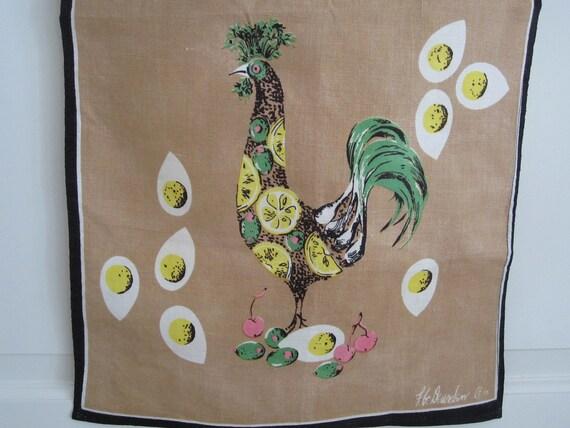 Vintage Towel FUNKY Rooster Designer