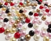 Mixed Half Pearl 6mm 1 Gross 144pcs ss30 Flatback Decoden Supplies