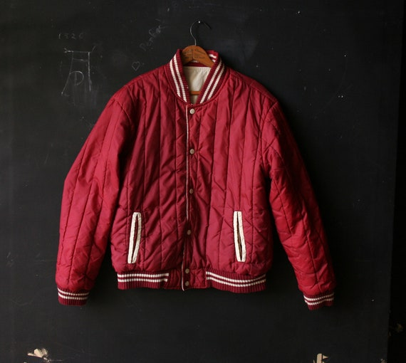 Vintage Collegiate Jacket Baseball Letterman Style Maroon and Cream Men or Women