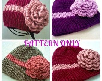 Abigail Rose Hat Cloche Pattern PDF Knit Preemie Toddler Child Kids sizes INSTANT DOWNLOAD diy