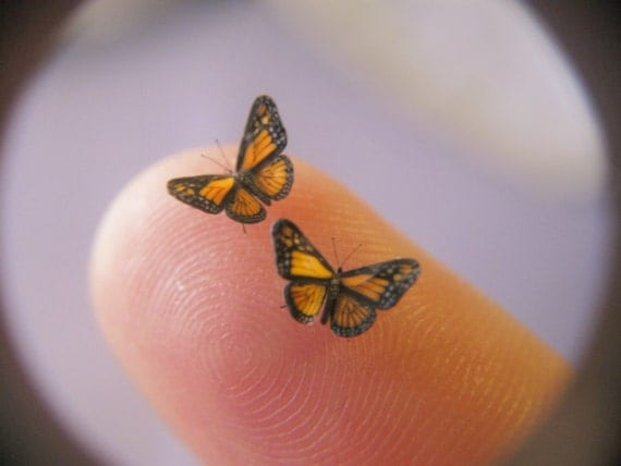 "2 Miniature Monarch Butterflies in Dollhouse Scale - 1/4"" Wingspans"